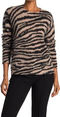 Catherine Malandrino Animal Stripe Brushed Cashmere Sweater