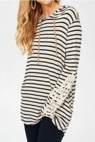 Lovely J Stripe Hoodie Top