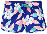 Gymboree Oxford Blue & Aqua Floral Boardshorts - Girls