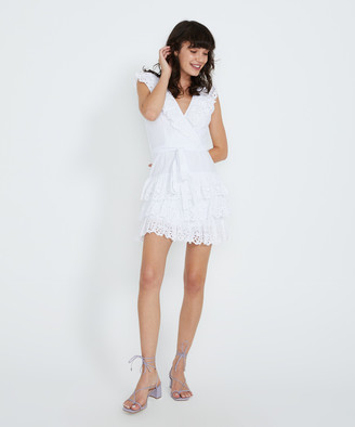 MLM Label Peony Broidery Dress Anglais White