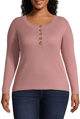 Arizona Womens Henley Neck Long Sleeve Pullover Sweater-Juniors