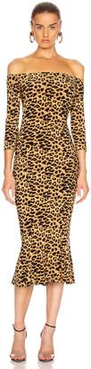 Norma Kamali Off Shoulder Fishtail Midcalf Dress in Golden Leopard | FWRD