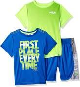 Fila Boys 3-piece Short and Shirt Set (, Blue/Green)