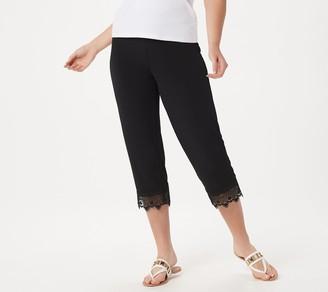 Susan Graver Regular Liquid Knit Crop Pants with Lace Hem