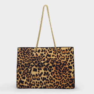 Loeffler Randall Alma Medium Shopper Tote In Leopard Printed Leather