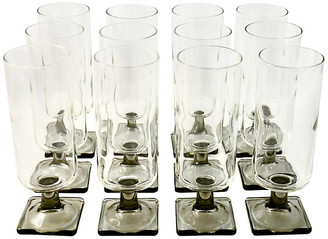 One Kings Lane Vintage Midcentury Smoked Stemware - Set of 12 - Design Line