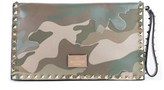Valentino Women's Large Brown Rockstud Camouflage Flap Clutch.