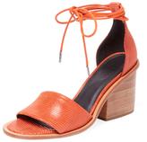Tibi Clark Embossed Suede Ankle-Wrap Sandal