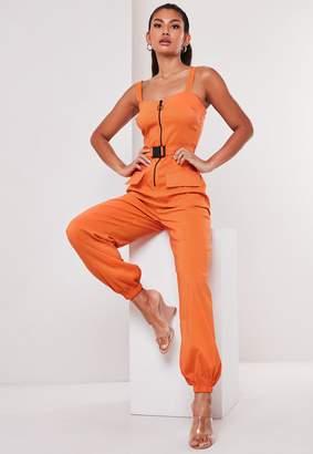 Missguided Petite Orange Seatbelt And Zip Front Jumpsuit
