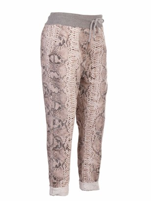 Lavishfashion New Italian Ladies Animal Print Elastic Waist Cotton Trouser Jogger UK One Size 10-16 (Leopard Print 1)