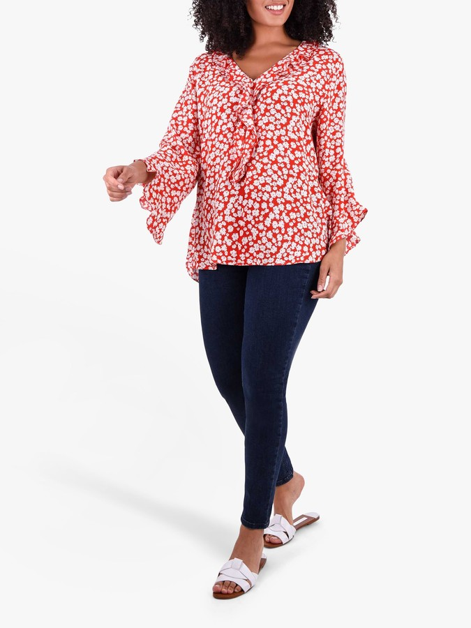 Live Unlimited Curve Ditsy Floral Blouse, Red
