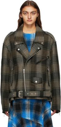 Dries Van Noten Khaki and Brown Check Oversized Biker Jacket