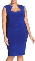 Marina Plus Size Women's Embellished Shirred Stretch Jersey Sheath Dress
