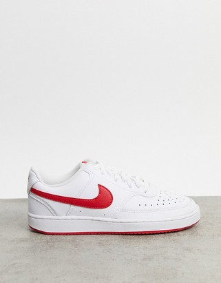 Nike Court Vision Low trainers in white & university red