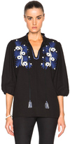 Suno Two Tone Floral Top in Black.