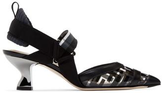 Fendi Black PVC Colibri Slingback Heels