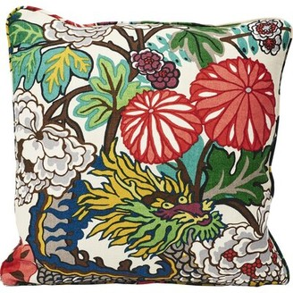 Schumacher Chiang Mai Dragon Linen Feathers Floral Throw Pillow Color: Alabaster