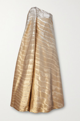 Reem Acra One-shoulder Draped Metallic Mikado Gown - Gold