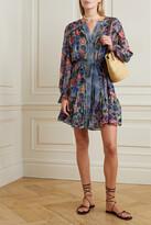 Thumbnail for your product : Saloni Pixie Belted Floral-print Silk Crepe De Chine Mini Dress - Blue