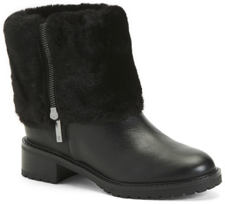 Fold Over Leather Faux Fur Lined Boots