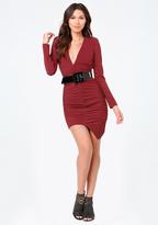 Bebe Rachel Deep V Shirred Dress