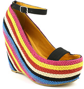 Fahrenheit Black & Bright Stripe Fargo Wedge Sandal