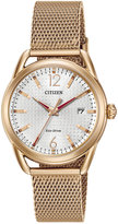 Citizen Women's Drive Rose Gold-Tone Stainless Steel Mesh Bracelet Watch 34mm FE6083-72A
