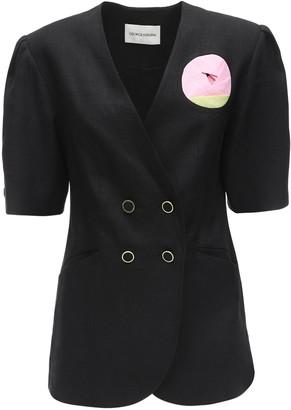 George Keburia Rose Embellished Linen Jacket