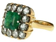 Arman Square Emerald Ring with Rose Cut Diamonds - 22 Karat Gold
