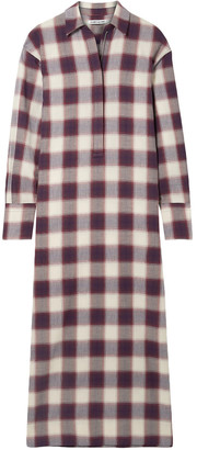 Elizabeth and James Badgley Checked Cotton Maxi Shirt Dress
