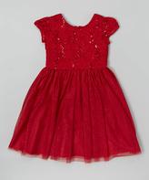 Jayne Copeland Red Lace Glitter Cap-Sleeve Dress - Toddler & Girls