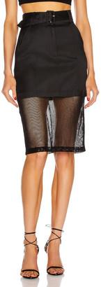 Fleur Du Mal Sheer Pencil Skirt in Black   FWRD