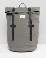 SANDQVIST Sonja Rolltop Bakpack in Cotton Canvas with Leather Trims
