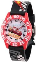 Disney 3 Lightning McQueen Boys' Red Plastic Time Teacher Watch, 3D Black Plastic Strap