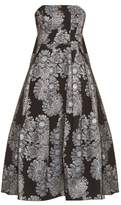 Erdem Alina metallic-jacquard strapless dress