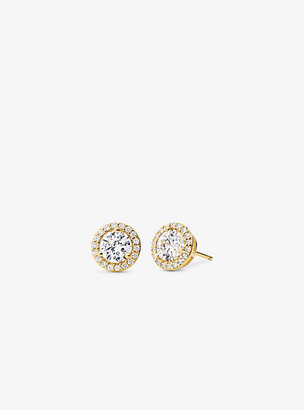 Michael Kors Precious Metal-Plated Sterling Silver Pave Studs - Gold