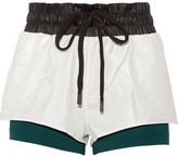 NO KA 'OI No Ka'Oi - Hilo Layered Shell And Stretch-jersey Shorts - White