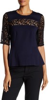 Rebecca Taylor Short Sleeve Ponte Lace Blouse