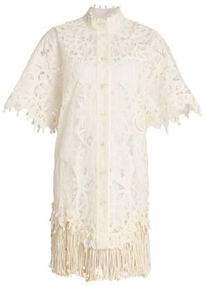 Zimmermann Wavelength Fringe Silk Shirtdress