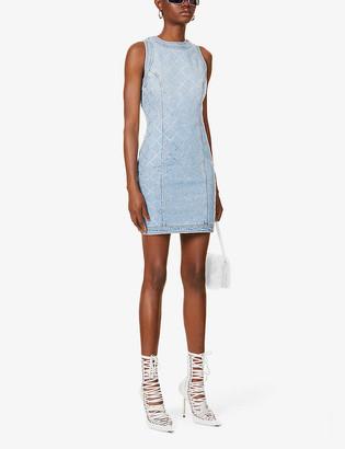 Balmain Crystal-embellished denim mini dress