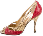 Dolce & Gabbana Crocodile-Trimmed Python Sandals