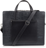 GILMORE Navy Crocodile Embossed Satin Leather Briefcase