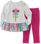 Kids Headquarters White Floral Tunic & Pink Leggings - Infant, Toddler & Girls