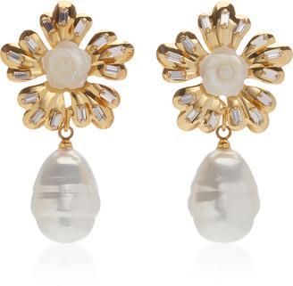 Bounkit Mother Of Pearl Flower Drop Earrings