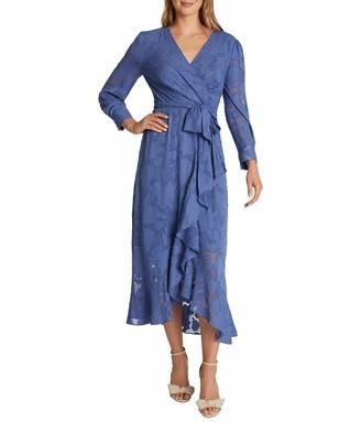 Tahari ASL Women's Long Sleeve V-Neck Lace Surplus Dress with Ruffle Skirt