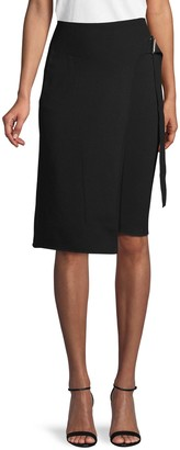 Helmut Lang Belted Wool-Blend Skirt
