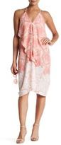 En Creme Print Draped Dress