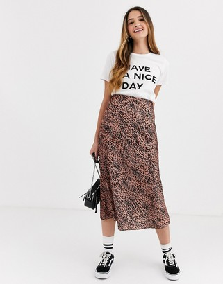 New Look satin skirt in brown animal