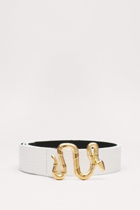 Nasty Gal Womens You've Got Hiss Faux Leather Snake Belt - White - One Size