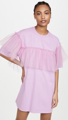 MSGM Ruffled Organza T-Shirt Dress
